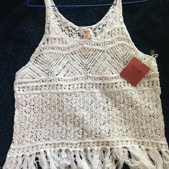 90240583941e3 Mossimo Supply Co. Tops | Crocheted White Bohochic Beach Cover Tank ...